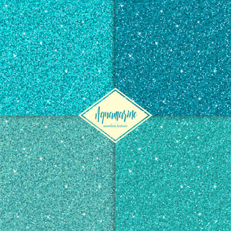 gemstone: Set of aquamarine sparkles texture with shine, glossy confetti, glitter background.