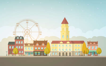 town hall: Autumn city landscape. Urban background with buildings, tower, town hall, shop, stores, market, ferris wheel, alley, street. Vintage house. Evening sky with cloud. Vector illustration in flat design