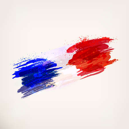 French hand drawn national flag. France. Watercolor background, ink stains, tricolor. Template for creative flyer, banner, card. Vector illustration