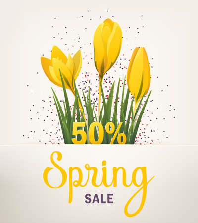 Spring banner. Big Offer Sale poster for Mothers Day, Spring, Summer. Banner with flowers, yellow crocus. Vector illustration EPS10 for flyer design, online shopping, advertising, magazine, website Illustration