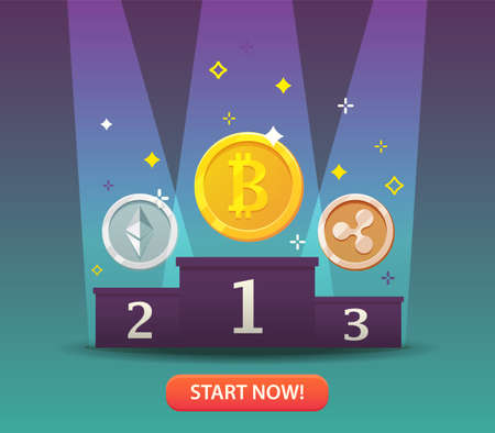 Cryptocurrency coins. Bitcoins and virtual money concept. Flat modern design concept of crypto currency technology. Banner for Cryptocurrency Market, Hosting Company, Mobile banking. Vector illustration Фото со стока - 88335386