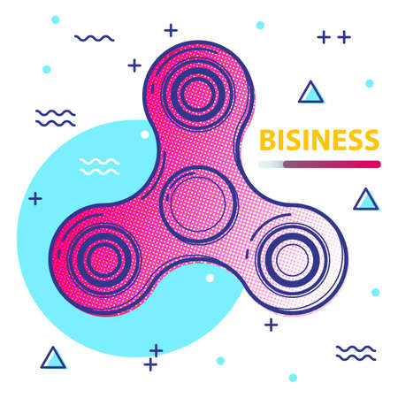 Fidget spinner poster covers with modern hipster and memphis colors. Hand spinner design with motivational quotes for business, label, banner, advertising, placards, flyers, presentations. Vector.