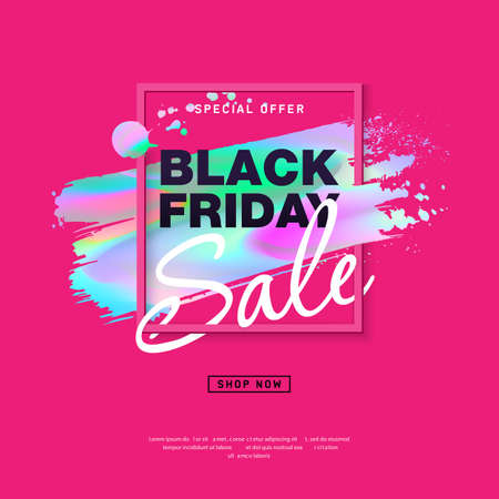 Black Friday Sale Poster with holographic brush stroke.