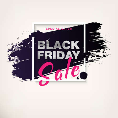 Black Friday Sale Poster with silver text. Modern concept for cover design. Shopping discount promotion. Advertising design for flyer, presentation, card, brochure, magazine, mockup, booklet. Vector