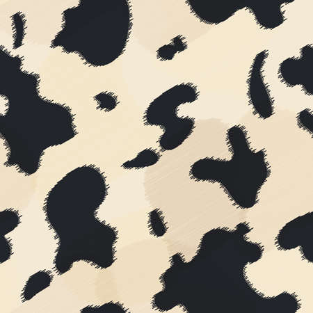 Seamless leather texture. Cow fur texture. Cow pattern, animal skin texture. Animal print. Hand drawn vector illustration. Design elements for your projects, fabrics, prints, wallpaper, wrapping