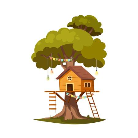 Tree house for playing and parties. House on tree for kids. Children playground. Wooden town, rope park between green foliage. Summer camp vacation. Flat cartoon style. Vector illustration, isolated