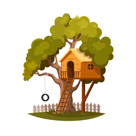 Tree house for playing and joyful children. House on tree for kids. Children playground with ladder and wheel. Wooden town. Summer camp vacation. Flat cartoon style. Vector illustration, isolated Illustration