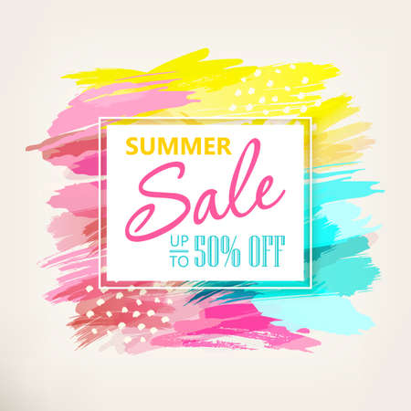 Summer Sale Banner design. Social media sale. Vector banners, posters, flyers, email, newsletter, ads, promotional material. Typography discount card design. Vector illustration. Illustration