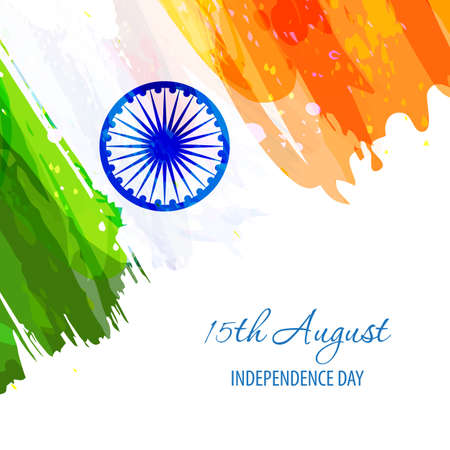 Indian Independence Day 15th August. Creative watercolor background in national flag tricolor. Hand drawn watercolor flag. Template for cover design, greeting card, brochure. Vector Illustration
