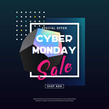 Cyber Monday media concept banner in modern neon style. Abstract fluid shape. Promotion online retailers, exceptional bargains. Online shopping Poster. Advertisement of rebates on cyber Monday. Vector