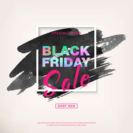 Black Friday Sale Poster with holographic text on watercolor stroke in frame. Special offer promotion. Sale Discount banners, labels, print posters, web presentation. Vector illustration, Eps10