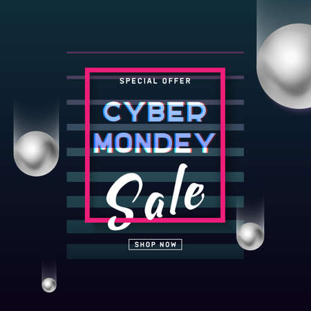 Cyber Monday media concept banner in modern neon style. Abstract fluid holography shape for web e-mail promotion. Online sale poster, concept design. Business offer cyber Monday. Vector illustration