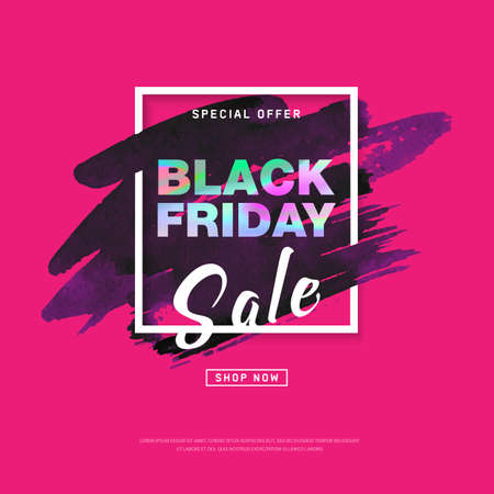 Black Friday Sale banner with watercolor stroke. Trendy abstract cover poster. Banner for holiday discounts, sales. Creative design poster. Eps10 editable vector.