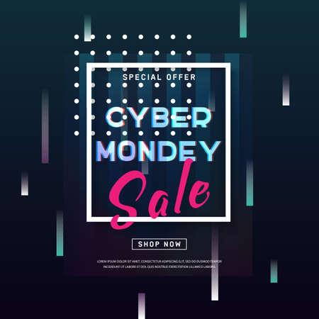 Cyber Monday concept banner in modern style. Abstract poster with glitch effect shapes, dynamic background for web e-mail promotion. Online shopping. Advertisement, Business offer cyber Monday. Vector  イラスト・ベクター素材