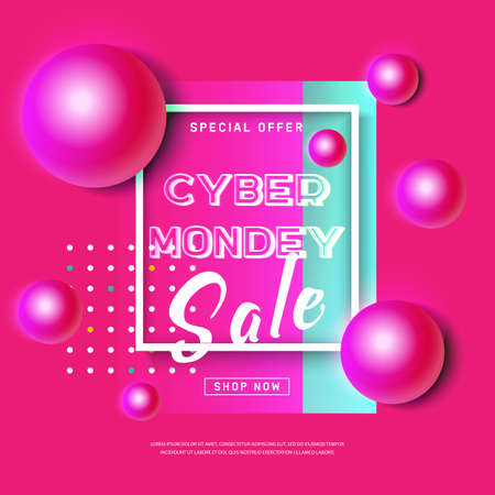 Cyber Monday concept banner in modern neon style. Abstract poster with pink ball, dynamic background for web e-mail promotion. Online shopping. Business offer cyber Monday. Vector illustration
