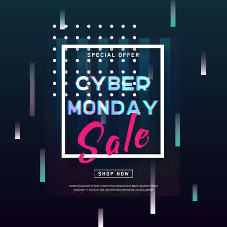 Cyber Monday banner. Promotion online retailers, exceptional bargains. Abstract poster with glitch effect shapes, dynamic background for web e-mail promotion. Online shopping. Advertisement, Business offer cyber Monday. Vector