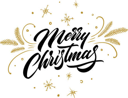 Merry Christmas. Christmas greeting card with lettering. Handwritten lettering with gold decor on isolated background. Calligraphic Xmas Wishes. Happy New Year card design. Vector illustration