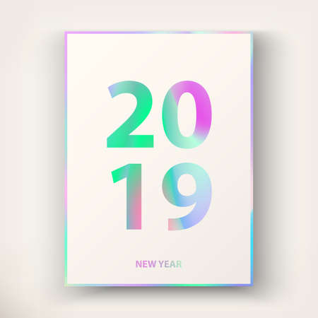 2019 New Year card. Modern cover design in trendy Holographic colors in stylish 80's. Applicable template for gift card, poster, magazine, flyer. Holiday background. Winter invitation card. Vector