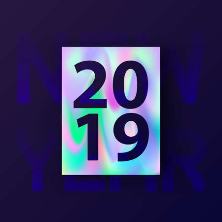2019 New Year card with holographic background in stylish 80's, material design. Abstract Holographic shapes. Happy New Year 2019 text design. Greeting and invitation card. Vector illustration, EPS 10  イラスト・ベクター素材