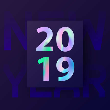 2019, New Year card with holographic text. Modern creative covers design in stylish 80's. Winter holiday invitation in material design. Template for gift card, cover poster, brochure, flyer. Vector