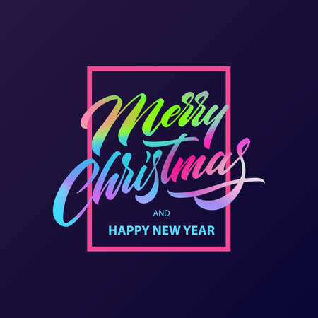 Merry Christmas calligraphy Lettering in fluid neon color. Design card template. Creative typography for Holiday Greeting Gift Poster. Hand written lettering. Xmas Wishes. Eps10 vector illustration