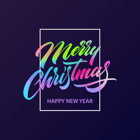Merry Christmas greeting card with fluid lettering. Christmas and New Year posters in ultra violet colors. Merry Christmas calligraphic letters. Holiday background, banner, poster. Vector illustration