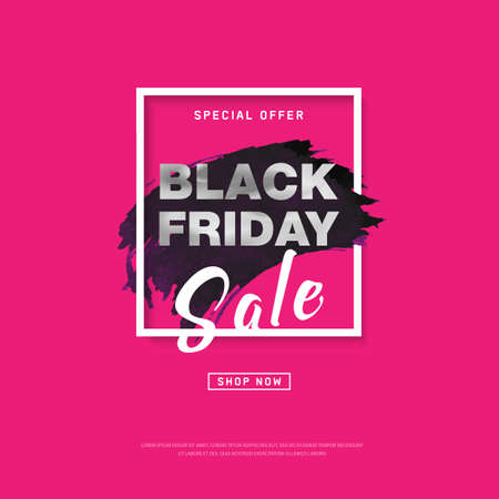 Black Friday Sale banner with watercolor stroke for trendy abstract cover. Banner with editable space for holiday discounts, sales. Futuristic design poster. Eps10 vector.  イラスト・ベクター素材