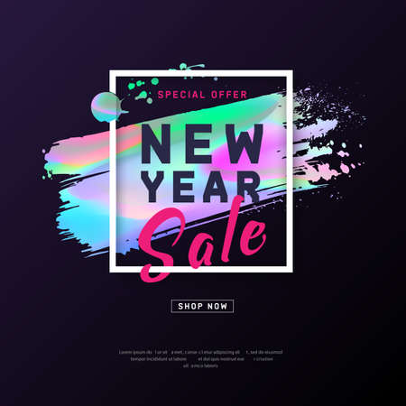 2018 New Year Poster with holographic effect brush stroke. Layout background. Modern concept for cover design. Template advertising poster design for banners web, gift card, flyer. Vector illustration  イラスト・ベクター素材