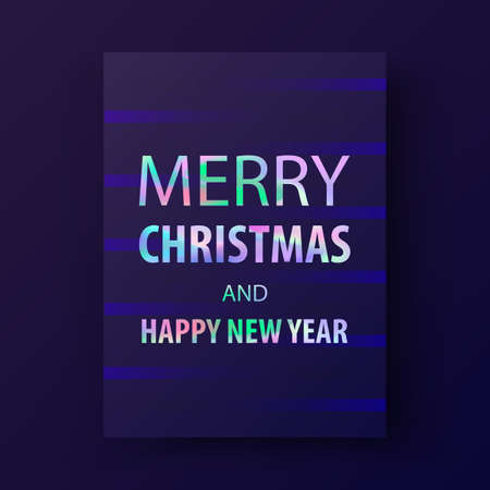 2018 Merry christmas and happy new year card. Modern cover design in trendy holographic colors. Holographic background in stylish 80's. Applicable for gift card, poster, brochure, flyer. Vector