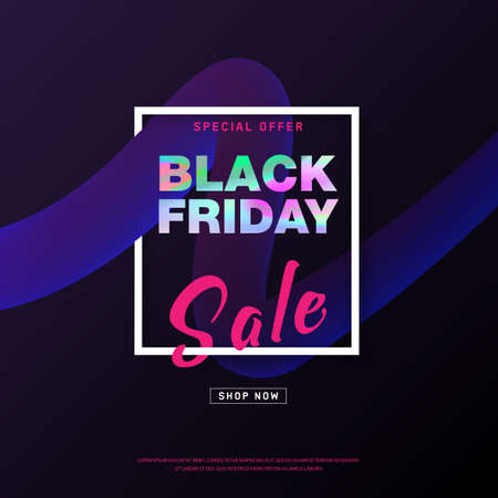 Black Friday Sale banner design with holographic text on 3d flow shape. Modern concept for poster. Shopping discount promotion. Banner for business, promotion and advertising. Vector illustration.  イラスト・ベクター素材
