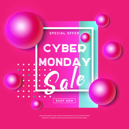 Cyber Monday concept banner in modern neon style. Abstract poster with pink ball, dynamic background for web promotion. Promotion online retailers. Business offer cyber Monday. Vector illustration  イラスト・ベクター素材