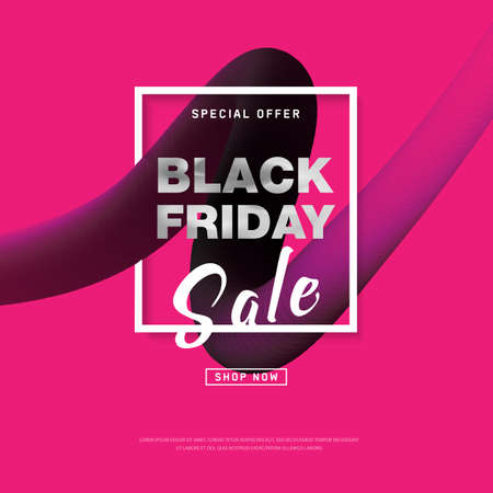 Black Friday Sale banner with liquid shapes for trendy abstract covers. Banner with editable space for holiday discounts and sales. Futuristic design poster for business promotion, advertising. Vector