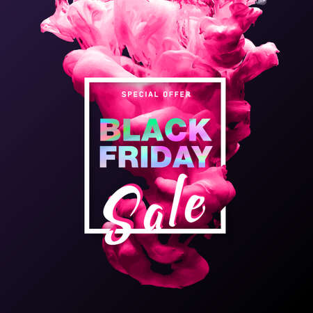 Black Friday Sale banner with holographic text on 3D cloud of ink swirling. Modern concept for poster. Shopping discount promotion. Banner for business, promotion and advertising. Vector illustration
