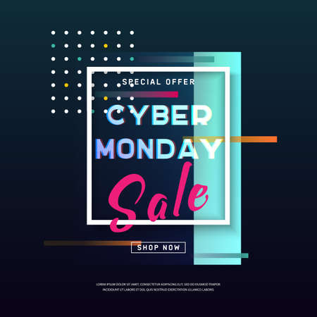 Cyber Monday media concept banner in modern style. Promotion online retailers, exceptional bargains. Web, email promotion. Online shopping Poster. Advertisement, Business offer cyber Monday. Vector