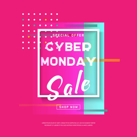 Cyber Monday media banner in modern neon abstract style. Promotion online retailers, exceptional bargains. Online shopping Poster. Advertisement of sales rebates of cyber Monday. Vector illustration