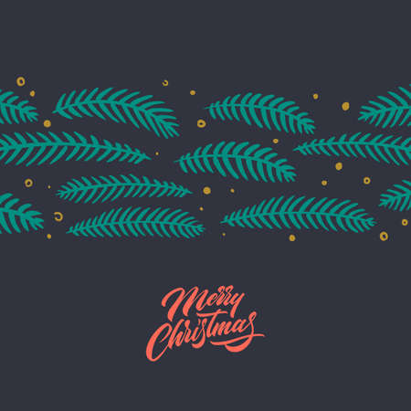 Merry Christmas greeting card with handwritten lettering. Christmas ornament, Pine Branches for greeting cards. Hand written lettering. Vintage postcard. Calligraphic Xmas Wishes. Vector