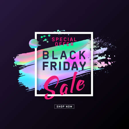 Black Friday Sale Poster with holographic effect brush stroke. Layout background. Modern concept for cover design. Template advertising poster design for banners, web, gift card, flyer. Vector  イラスト・ベクター素材