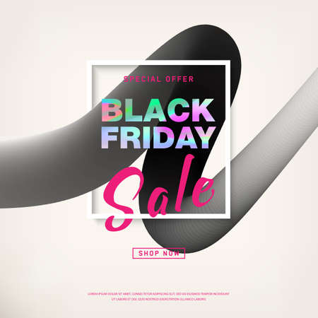 Black Friday Sale banner with holographic text. Liquid shapes for trendy abstract covers. Banner with editable space for holiday discounts and sales. Poster for business promotion, advertising. Vector  イラスト・ベクター素材