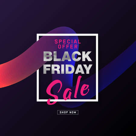 Black Friday Sale Poster design with silver text on 3d flow shape. Modern concept for cover design. Shopping discount promotion. Banner for business, promotion and advertising. Vector illustration.  イラスト・ベクター素材