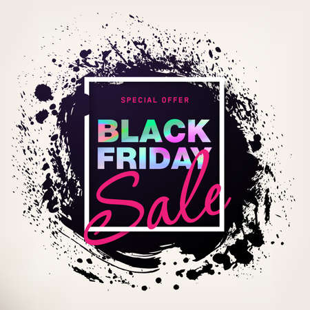 Black Friday Sale Poster with holographic effect. Modern concept for cover design. Sale Discount banner. Template advertising poster design for flyer, presentation, cover design. Vector illustration  イラスト・ベクター素材