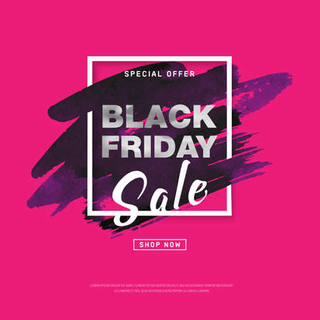 Black Friday Sale banner with watercolor stroke for trendy abstract cover. Banner with editable space for holiday discounts, sales. Futuristic design poster for business promotion, advertising. Vector  イラスト・ベクター素材