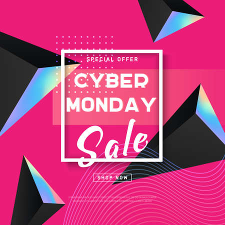 Cyber Monday concept banner in modern style. Abstract fluid holography shape, dynamic background for web, e-mail promotion. Promotion online retailers. Business offer cyber Monday. Vector illustration