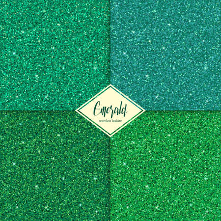 Set of emerald sparkles texture with shine, glossy confetti, glitter background. Vector illustration seamless pattern, glamour style for your design invitation, festive, party, holidays, xmas, wedding Illustration