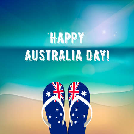 Happy Australia Day - 26 january. National Australia holiday, festival. Independence day. Poster with ocean landscape. Beach with flip-flops. Template for greeting card. Vector illustration Illusztráció