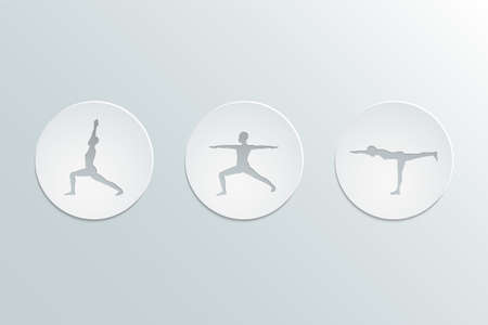 Icons yoga asanas. Virabhadrasana set. Warrior  poses. Cut-out paper Design, modern color and stylish icons set. Vector Illustration, eps 10 写真素材 - 121645556