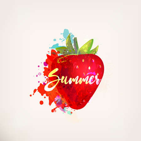 Watercolor red strawberry with lettering. Ink painting. Sweet fruit, berry. Colorful paint blots and stains. Hand drawn concept for your logo, farmers market, organic food, package design, herbal tea Ilustrace