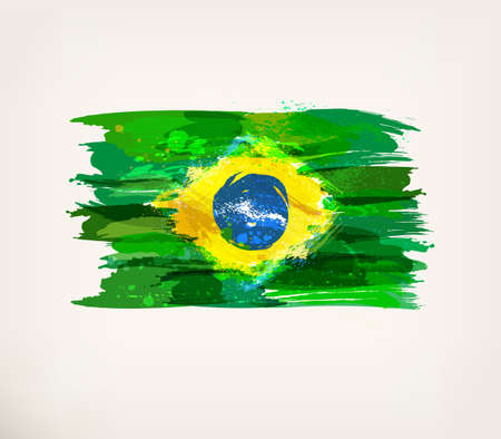 Brazilian flag. Watercolor hand drawn national flag. Watercolor background, ink stains, colors in Brazil concept. in Brazil flag concept. Template for cover design, advertising, banner, card, brochure Illustration