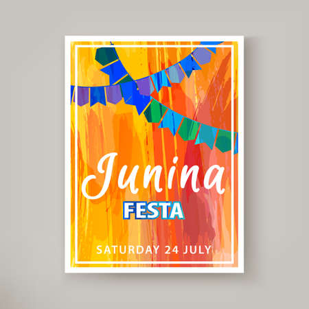 Festa Junina holiday, night beach party. Folklore fest. Hipster party. Artistic creative card. Hand Drawn texture. Template for creative flyer, banner, invitation, promotion. Vector illustration  イラスト・ベクター素材