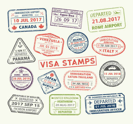 Isolated set of visa passport stamp for travel to Canada or USA, Uk or China, Venezuela or Dominican republic, Japan or Egypt, Korea or Brasil, Italy or Tailand. Tourism icon. Airport sign. Vector. Vector Illustration