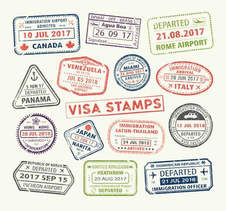 Set isolato di timbro del passaporto visto per viaggi in Canada o Stati Uniti, Regno Unito o Cina, Venezuela o Repubblica Dominicana, Giappone o Egitto, Corea o Brasile, Italia o Thailandia. Icona del turismo. Segno dell'aeroporto. Vettore. Vettoriali